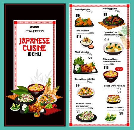 Japanese cuisine menu, Japan restaurant traditional food dishes. Vector price menu for stewed pumpkin, fried eggplant and rice with beef, oyacodon chicken and Chinese cabbage with salmon and noodles Illustration