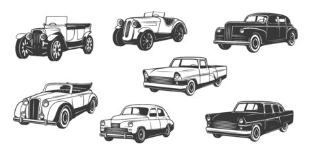Vintage retro cars isolated black monochrome icons. Vector classic and old time antique vehicle models of cabriolet, coupe or convertible sedan, retro auto collectors club transport symbols