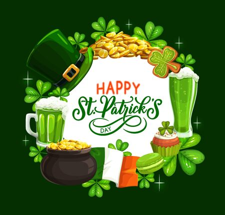 St. Patricks Day shamrock, leprechaun hat, gold and green beer vector design. Irish religious holiday greeting card with clover leaves, golden coins pot, Ireland flag and celtic elf treasure cauldron Ilustracja