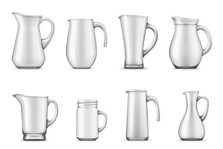 Pitchers, jugs and jar mug 3d vector design. Empty white ceramic or porcelain tableware of realistic cup and containers with handles and spouts, kitchen utensils and kitchenware themes