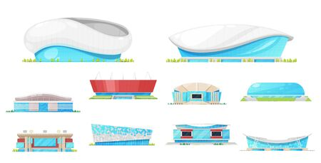 Stadium and sport arena building vector icons. Football or soccer game, ice hockey, basketball and baseball stadium exteriors with play fields, scoreboards and rink, light masts and entrances