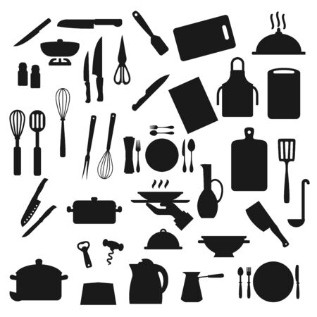 Cooking utensils, kitchen cutlery and kitchenware silhouette icons. Vector home cook utensils and cookware, saucepan ladle, cup mug, fork and knife, ladle and whisk, spoon and cooking apron