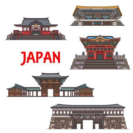 Japanese building of religion and sport icons, Asian travel landmarks vector design. Shinto Meiji Shrine, arena Nippon Budokan and Otemon Gate of the Kochi Castle, Hanazono and Kunozan Toshogu Shrines Ilustração
