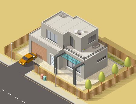 House 3d isometric design with building of town or village home. Vector icon of two storey villa or cottage exterior with green garden trees, lawn and car garage, street road, flat roof, modern facade