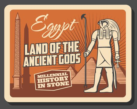 Ancient Egypt history museum and travel landmarks vintage retro poster. Vector Egypt culture tour excursions, Horus god deity, Giza and Cairo pharaoh pyramids and hieroglyphs on obelisk Illustration