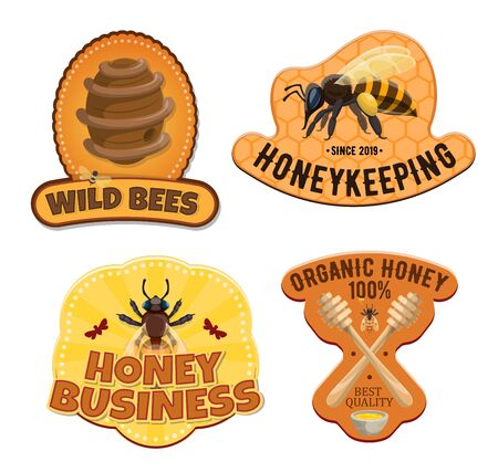 Honey icons, natural beekeeping food production, package labels. Vector apiculture icons of bee on honeycomb, beehive and wooden dipper spoon on honey splash dripping Standard-Bild - 134804973