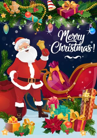 Santa with Christmas bell, Xmas gifts and sleigh vector design. Claus bag of presents, ribbon bows and gingerbread, winter holidays greeting card with New Year garland of pine branches, balls, lights