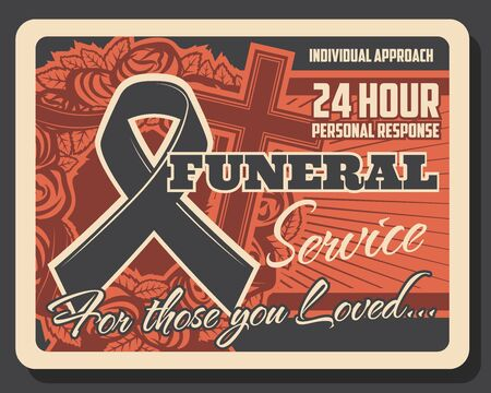 Funeral service, burial ceremony organization agency or company retro poster. Vector RIP black ribbon, cross and wreath, cremation columbarium and funeral catafalque hearse services