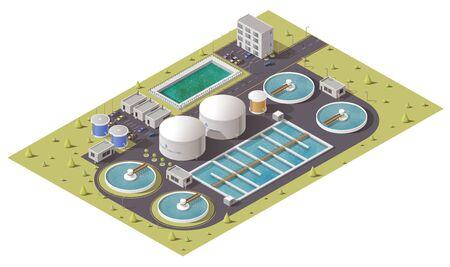 Impianto di trattamento delle acque reflue o delle acque reflue, impianti di depurazione dell'acqua e progettazione isometrica dell'attrezzatura della stazione di pompaggio. Icona vettoriale 3d del serbatoio di filtrazione, serbatoi di stoccaggio e pulizia con tubi