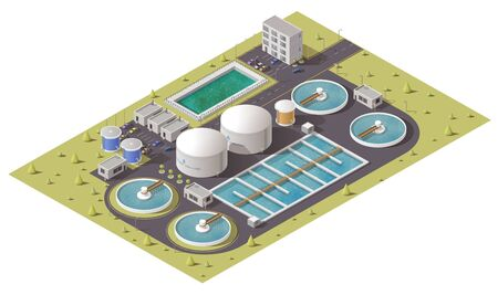 Wastewater or sewage treatment plant, water purification facilities and pumping station equipment isometric design. 3d vector icon of filtration tank, storage and cleaning reservoirs with pipes 向量圖像