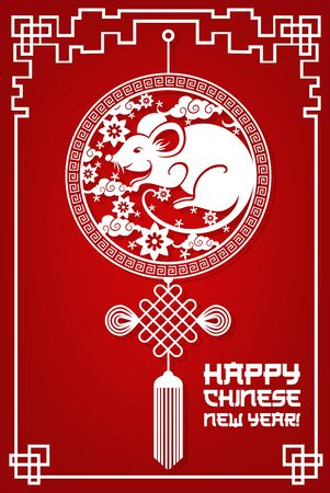 Happy Chinese New Year 2020, Asian holiday celebration, vector paper cut card. Chinese New Year of rat, hieroglyphs greeting and lucky knot ornament on red background in line frame