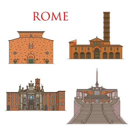 Rome travel landmarks, Italy architecture and famous sightseeing symbols. Vector Santa Maria church in Cosmedin and Aracoeli, Spanish Steps and basilica St Croce in Gerusalemme Archivio Fotografico - 135129705