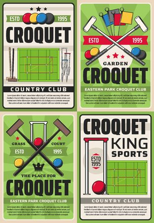 Croquet country club and league championship, vector vintage retro posters. Croquet sport club team tournament, player bat, balls and wicket hoops on playing field court