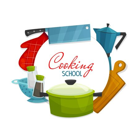 Cooking school and chef cook academy poster. Vector culinary and home cooking master class, catering service workshop course, kitchen appliances and kitchenware cooking utensils Vecteurs