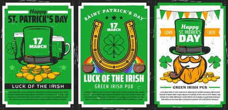 St Patricks Day religion holiday vector design of Irish pub party invitations. Shamrock or clover leaves, green beer and leprechaun with hat, pots of gold coins and lucky horseshoe, orange beard, pipe