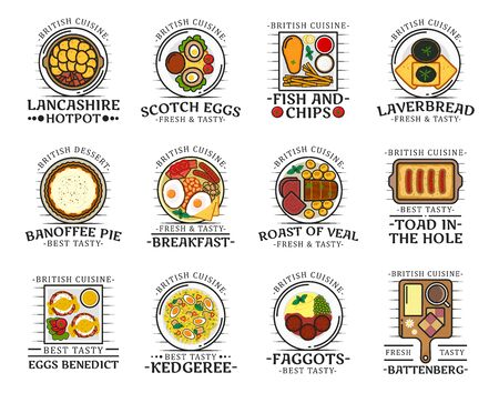 British cuisine food, traditional breakfast, lunch and dinner meals, restaurant cafe menu dishes. Vector English fish and chips, Scotch eggs and banoffee pie with veal roast and Lancashire hotpot