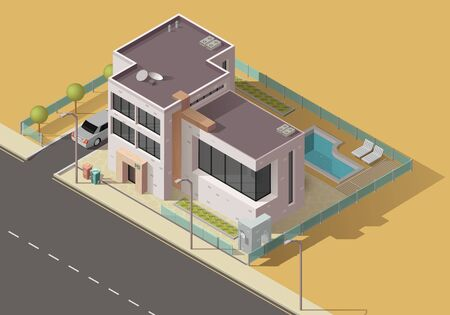 House isometric icon with 3d building, garden and exterior, real estate vector design. City or village home with road, car and flat roof, pool, trees and grass lawn on backyard, entrance door, windows