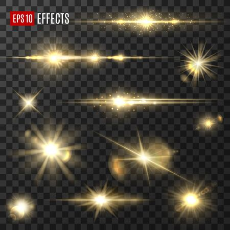Light shine and golden glitter sparkler, sunlight flashes, vector isolated icons. Gold light star sparks, glittering rays and glowing sparklers with lens flare and bokeh effect Vektorové ilustrace
