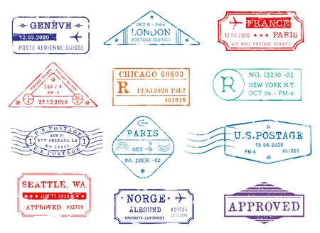 Airmail postage stamps with city and dates, vector icons. Post office delivery and customs approval stamps of London in Britain, Seattle and New York in USA, Paris France and Geneva in Switzerland Vector Illustration