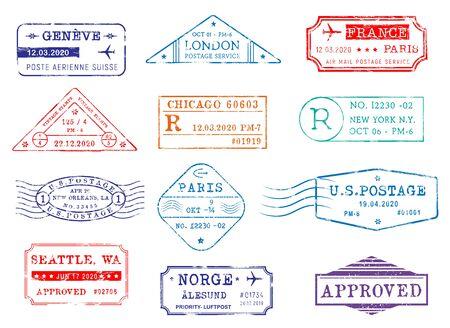 Luftpost-Briefmarken mit Stadt und Datum, Vektorsymbole. Postzustellung und Zollgenehmigungsstempel von London in Großbritannien, Seattle und New York in den USA, Paris, Frankreich und Genf in der Schweiz Vektorgrafik