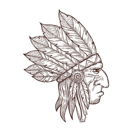 Indian chief head in traditional headdress of eagle feathers, sketch tattoo symbol. Vector Western and native American Indigenous tribe culture symbol of Indian chief warrior, monochrome engraving Ilustrace