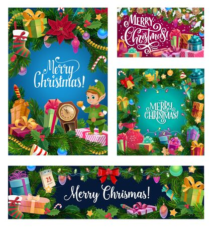Merry Christmas banners and posters with gifts and Xmas decorations. Vector elf with golden ball decoration, Santa present sock and calendar in Christmas lights and golden stars confetti