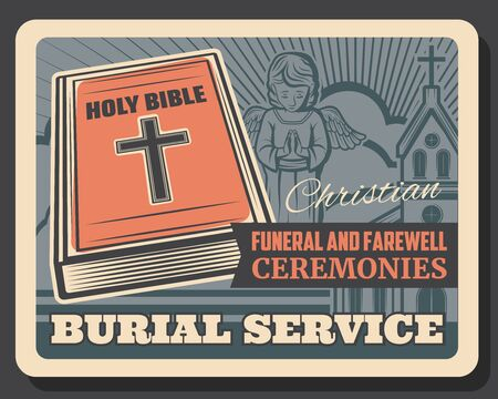 Funeral service, burial and farewell ceremony organization agency or company retro poster. Vector cross and church, holy bible and angel, cremation columbarium and funeral catafalque hearse services