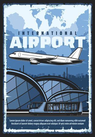 Air travel and tourism, international airport flights and passenger transfer shuttle bus service. Vector vintage retro poster, airplane at airport terminal, civil aviation and private airline flights  イラスト・ベクター素材