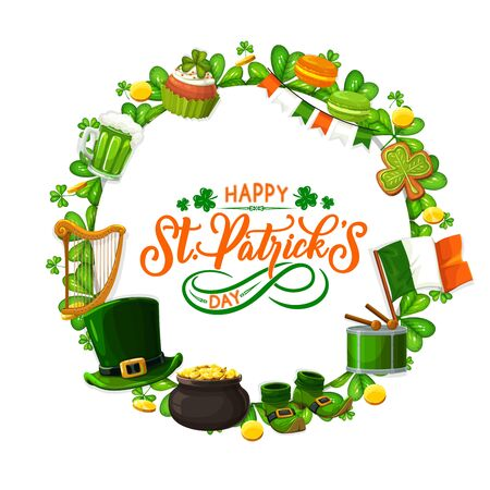 Saint Patricks day frame of holiday symbols. Vector border of green shamrock leaves, mug of beer and gingerbread cookies. National flag of Ireland, leprechauns hat and pot of gold, harp and shoes