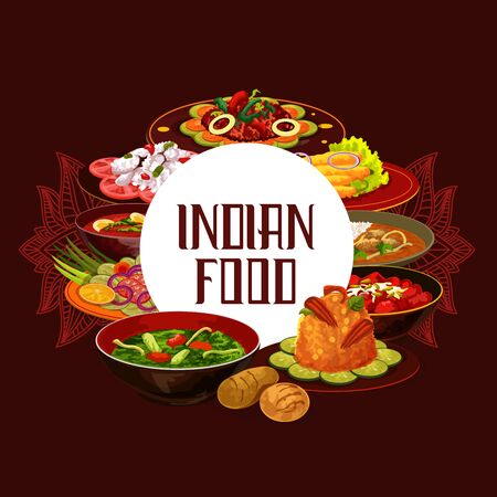 Indian cuisine food, traditional meals and India national dishes. Vector Indian restaurant menu or cooking recipe book cover, vegetables and rice, meat and fish, tandoori, curry and masala spices