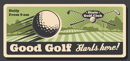 Golf club tournament and sport training course retro vintage poster. Vector professional golf championship field, golf ball and stick with hole flag on putter, golfer tournament and premium state club Stock fotó - 134805313