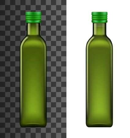 Olive oil glass bottle realistic 3d template mockup. Vector extra virgin olive oil bottle package with metal lid, premium quality Italian, Spanish and Green organic cooking product packaging
