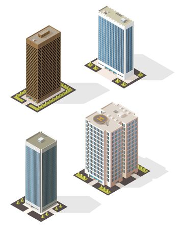 Skyscraper building 3d isometric icon with modern city business office centers. Urban tall buildings vector design of apartment house, bank and hotel multi storey towers with glass steel facades