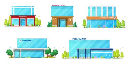 Pharmacy buildings, drug store and medical institution architecture facade icons. Vector modern pharmaceutical center or drugstore and clinic buildings with urban infrastructure, tress and entrances