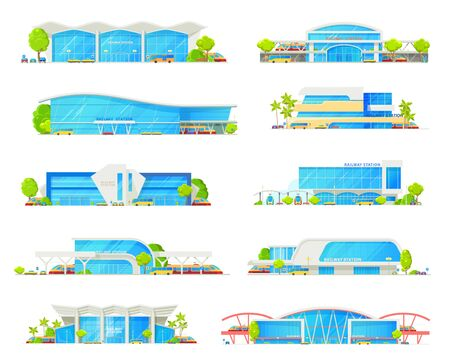 Railway station building vector icons with trains, track platforms and rail bridge. Railroad transport passenger terminals and depot with locomotives, bus and tram stations, car parking lots Illustration