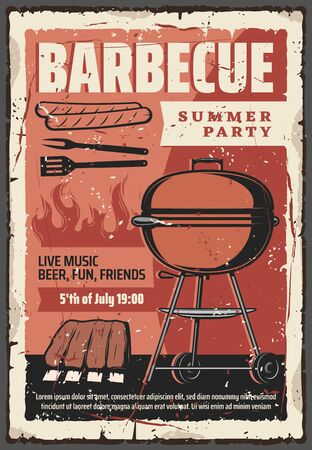 Barbecue summer party vintage retro poster, BBQ grill meat steaks and hot dog sausages. Vector outdoor barbecue picnic party, ribs and hamburgers cooking on charcoal fire Illustration