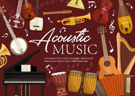 Acoustic music, retro musical instruments. Vector harp and piano, drums and trumpet, balalaika and banjo guitar. Violin and flute pipe, koto and biwa, harmonika, folk music equipment and notes Illusztráció