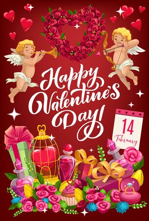 Happy Valentines day lettering and cupids with heart shape wreath. Vector symbols of love, heart in golden cage, calendar with February 14 date, flowers and elixir in bottle. Cupcake and present boxes