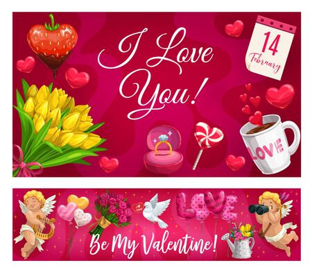 I love you and be my Valentine lettering, symbols of love. Vector cupids with binoculars and harp, hearts and doves, cup of coffee, candies. Heart shape balloons, rose and tulip flower bouquets, gifts