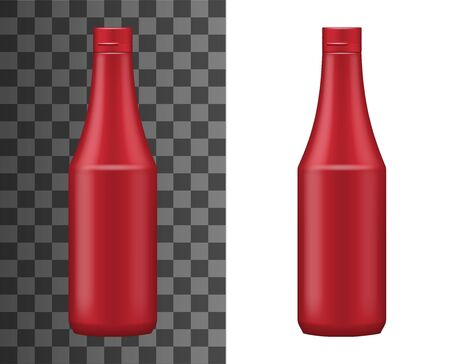 Ketchup bottle realistic packaging template isolated on white and transparent. Vector red plastic container with cap, tomato juice or ketchup sauce. Hot chili spicy sauce icon mockup template Foto de archivo - 134971738