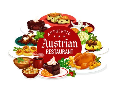 Austrian authentic restaurant, national cuisine dishes. Vector frame of food and desserts, Christmas goose and tyrolean beef stew goulash. Potato pasta with cabbage, beer soup