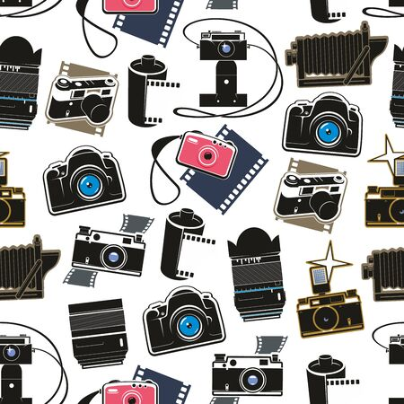 Photo equipment cameras and lens seamless pattern. Vector digital and retro photocameras, film cartridges or rolls and flashes. Professional photo studio symbols, photoshoot media or multimedia tools