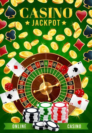 Casino and online gambling games, jackpot and fortune of wheel. Vector roulette surrounded by golden coins and chips, poker playing cards, aces of four suits. Gaming activities, game of chance, stakes Ilustracja