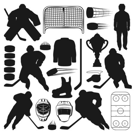 Ice hockey players and sport equipment isolated silhouettes. Vector winter sport game symbols, sticks and pucks, referee and gates. Male on skates, uniform helmets and trophy cup, goalkeeper