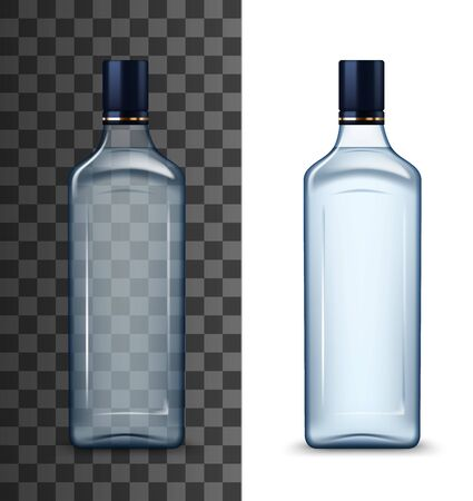 Glass vodka bottle mockup with black cap isolated on white and transparent. Vector high spirit alcohol drink, realistic bottle of Russian vodka. Packaging template of strong beverage, gin or whisky