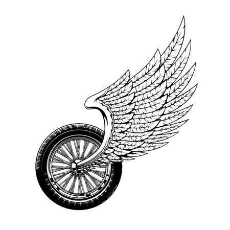 Wheel and wing isolated monochrome bikers club icon. Vector winged wheel race symbol or rockers monochrome tattoo. Bike or motorcycle rally label, racing championship or tournament