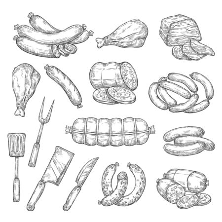 Meat food, sausages and kitchen cutlery isolated monochrome sketches. Vector beef and pork, lamb and mutton salami, bacon ham and chicken leg. Frankfurter and turkey, butcher shop and knife, fork