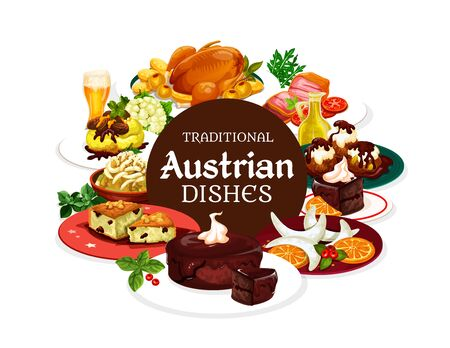 Austrian traditional dishes, vector banner of national food. Vector main courses and desserts, beer and Christmas goose. Potato pasta with cabbage, chocolate cake sacher, cheese knodel Ilustracja