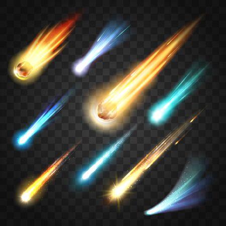 Pioggia di meteore con comete e corpi spaziali su trasparente. Vector neon incandescente particelle in rapido movimento, stelle cadenti e pioggia di meteoriti. Asteroidi che cadono nella galassia, nell'universo del cosmo, nello spazio esterno