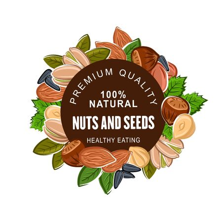 Nuts and seeds banner, organic natural food. Peanuts and pistachios, kernels and walnuts, sunflower seeds and hazelnuts. Cashew and almonds, vegan or vegetarian harvest, crop of premium quality nuts Archivio Fotografico - 135740101